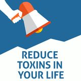 REDUCE TOXINS IN YOUR LIFE Announcement. Hand Holding Megaphone With Speech Bubble royalty free illustration