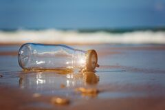 Free Reduce Waste In The Sea, Ecological And Environmental Problems. Glass Bottle On The Beach.Trash On The Beach Stock Photos - 175999763