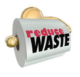 Reduce Waste Use Less Resources Cut Trash Garbage. Reduce Waste words on toilet paper roll to illustrate the need and importance to resuse and recycle materials Royalty Free Stock Photography