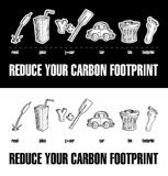 Reduce Your Carbon Footprint Rebus 2. Rebus encouraging the reduction of ones carbon footprint using drawings of a reed, a juice box, and oar, car, bin and Royalty Free Stock Photos