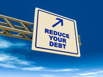 Reduce your debt. Signboard suggesting arrow towards reducing your debt, concept of debt reduction and consolidation stock illustration