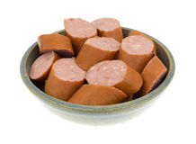 Reduced calorie kielbasa sausage slices in a bowl Stock Images