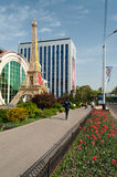 Reduced copy of Eiffel Tower in front of shops in Almaty Stock Photography