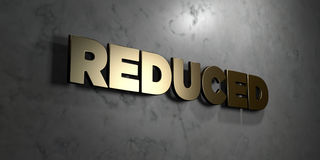 Reduced - Gold sign mounted on glossy marble wall  - 3D rendered royalty free stock illustration. This image can be used for an online website banner ad or a Royalty Free Stock Photo