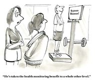 Reduced Health Insurance Costs. Business and medical cartoon showing businesspeople exercising in a gym, 'He's taken the health monitoring benefit to a whole Stock Image