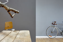 Reduced hipster loft with birch branch espresso and silver bike. Interior design two rooms Royalty Free Stock Photo