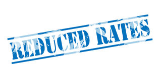 Reduced rates blue stamp Royalty Free Stock Photography