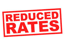 REDUCED RATES. Red Rubber Stamp over a white background vector illustration