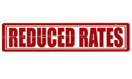 Reduced rates. Stamp with text reduced rates inside, illustration vector illustration