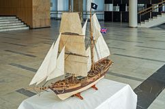 Reduced sailing ship model. Model of diminished two-masted sailing vessel fast and maneuverable on which pirates hunted stock photography