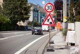 Reduced speed limit for roadworks sign Royalty Free Stock Image