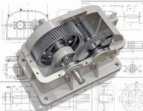 Reducer. 3D cut of reducer on the engineering drawing. Image with clipping path Stock Image