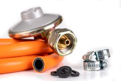 Free Reducer, Hose And Clamps For Gas Installations. Accessories For A Home Gas Stove Stock Photos - 160490823