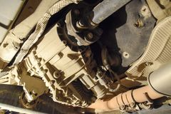 Reducer of torque transmission to the rear axle of the car. Car service.  Stock Images