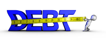 Reducing debt. A character tries to reduce the technical debt Stock Image