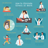 Reducing stress. Infographics of how to eliminate or reduce stress at workplace. Simple character with flat design Stock Photo