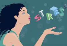Reducing stress. Profile of a young beautiful woman, blowing away the word stress from a palm of her hand, vector illustration, no transparencies Stock Images