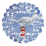 Reduction of CO2 presence in the atmosphere - jigsaw puzzle concept image.  royalty free stock image