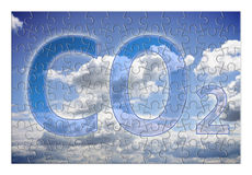 Reduction of CO2 presence in the atmosphere - puzzle concept ima Stock Photo