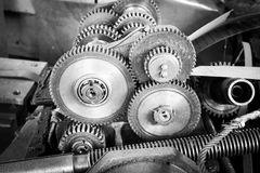 Reduction gear drive mechanism of the machine tool Royalty Free Stock Photo