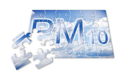 Reduction of particulate matter PM10 in the air -  concept ima. Ge in puzzle shape Royalty Free Stock Photos