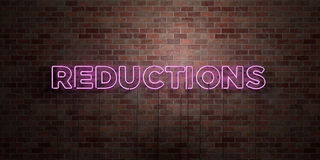 REDUCTIONS - fluorescent Neon tube Sign on brickwork - Front view - 3D rendered royalty free stock picture. Can be used for online banner ads and direct stock illustration