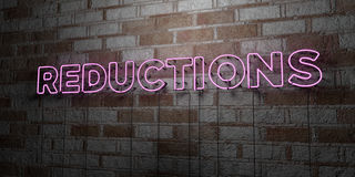 REDUCTIONS - Glowing Neon Sign on stonework wall - 3D rendered royalty free stock illustration. Can be used for online banner ads and direct mailers vector illustration