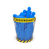 Redundant Wastebasket. Downsizing redundancy staff optimization job cuts social concept. Dismissed employees as a result of redundancy, economic financial crisis Royalty Free Stock Photos