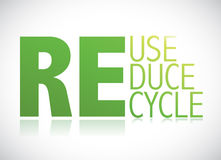 Reduse, reduce, recycle banner illustration design. Over a white background stock illustration