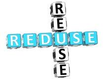 Reduse Reuse Crossword. 3D Reduse Reuse Crossword on white background Royalty Free Stock Images
