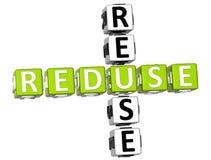 Reduse Reuse Crossword. 3D Reduse Reuse Crossword on white background Stock Photography