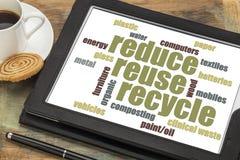 Reduse, reutilização, recicla a nuvem da palavra imagens de stock royalty free