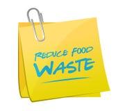 reduza o conceito do sinal do memorando do cargo do desperdício de alimento ilustração do vetor