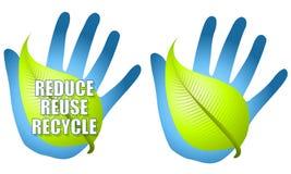Reduza reusar recicl a mão da folha ilustração royalty free