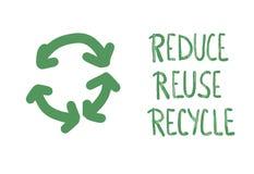 Reduza a reutiliza??o reciclam o conceito Projeto do texto do vetor ilustração do vetor