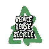 Reduza a reutiliza??o reciclam o conceito Projeto do texto do vetor ilustração stock