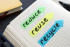 Reduza, reutilize, recicle escrito à mão em uma almofada de nota imagem de stock