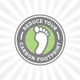 Reduza seu ícone da pegada do carbono com crachá verde do pé do ambiente ilustração royalty free