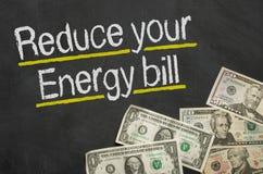 Reduza sua conta de energia imagens de stock