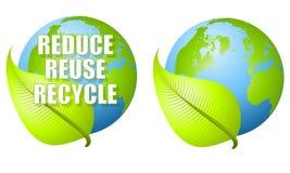 Reduzca la reutilización reciclan la tierra de la hoja Fotografía de archivo libre de regalías