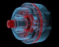Reduzierer (blaue transparente des Röntgenstrahls 3D) Stockfoto