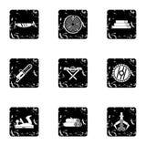 Reduzindo os ícones das árvores ajustados, estilo do grunge ilustração do vetor