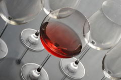 Redwine glass. Isolated on grey background Royalty Free Stock Photos