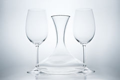 Redwine glasses with Decanter. Two redwine glasses with decanter (carafe Royalty Free Stock Images