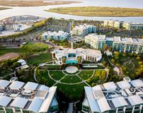 Aerial view of Pacific Shores Club in Redwood City port. Redwood City, Ca USA August 8, 2017: Birds eye view of Pacific Shores Club in Port of Redwood City Royalty Free Stock Images