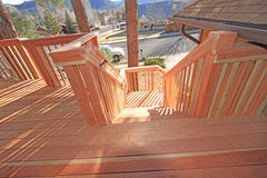 Redwood deck staircase Royalty Free Stock Image