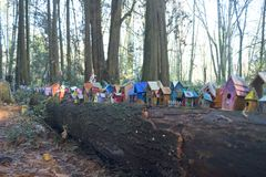 Painted birdhouses in Redwood Park in South Surrey. Painted birdhouses created, by children of all ages, sitting on a fallen tree in Redwood Park, south Surrey Stock Photography