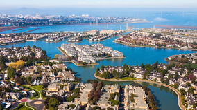 Redwood Shores. Aerial view of Redwood Shores in Californa stock photos