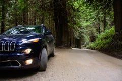 Redwoodträdnationalpark, Kalifornien, USA - Juni 10, 2015: Jeep Cherokee på en landsväg i skogredwoodträdet Arkivfoto
