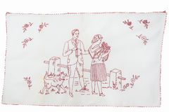 Redwork broderia z kobietą, mężczyzna i psem, Zdjęcia Stock
